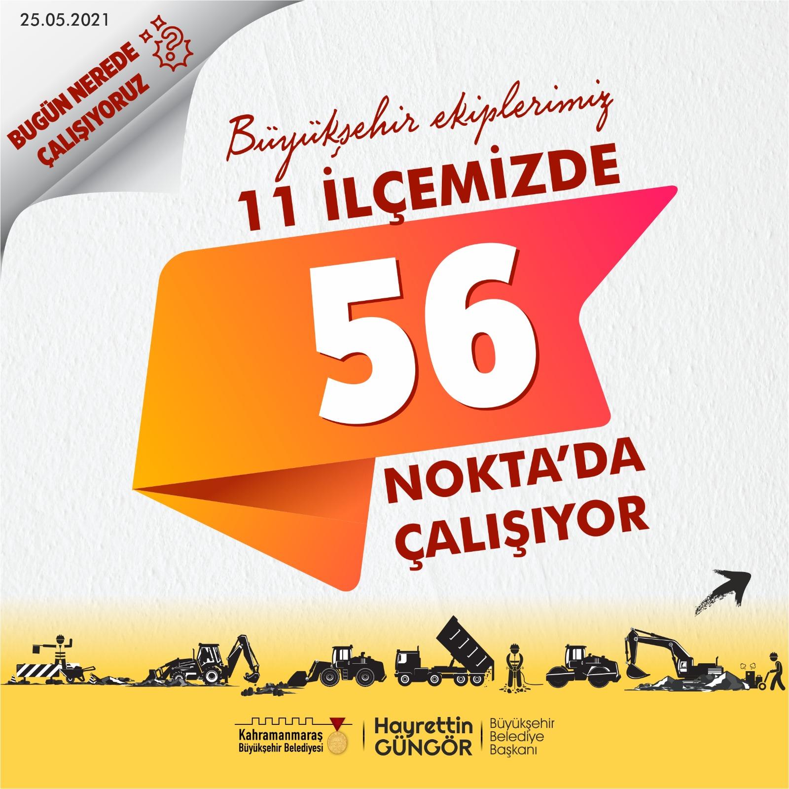 Kahramanmaraş Büyükşehir Belediyesi çalışma takvimini yayınladı