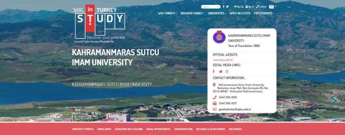 KSÜ, 'Study in Turkey YÖK Sanal Fuarı'nda