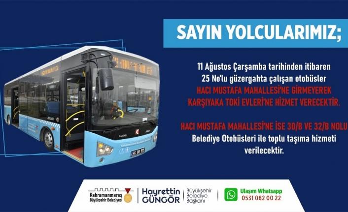 Kahramanmaraş 'ta üç otobüs hattında değişiklik