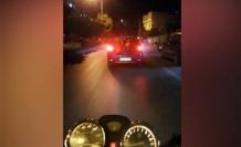 Trafikte tehlikeli yolculuk kask kamerasında