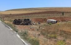 Kahramanmaraş'ta beton mikseri yan yattı