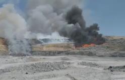 Kahramanmaraş'ta katı atık alanında yangın
