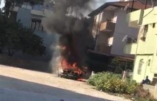 Hatay'da LPG'li otomobil alev topuna döndü