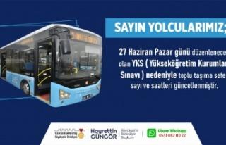 Toplu Taşıma Seferlerine YKS Düzenlemesi